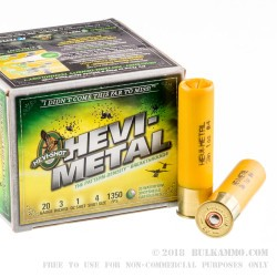 25 Rounds of 20ga Ammo by Hevi-Shot - 1 ounce #4 shot