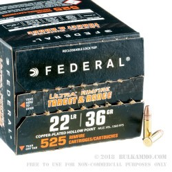 525 Rounds of .22 LR Ammo by Federal Ultra - 36gr CPHP