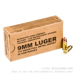500 Rounds of 9mm Ammo by Remington MIL / LE Contract Overrun - 115gr FMJ