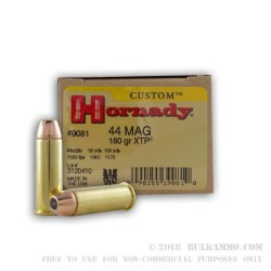 20 Rounds of .44 Mag Ammo by Hornady - 180gr JHP