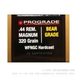 20 Rounds of .44 Mag Ammo by ProGrade Ammunition - 320gr WFNGC