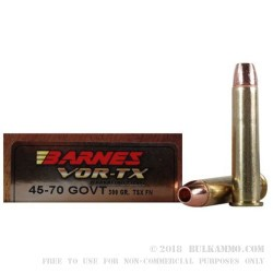 20 Rounds of .45-70 Ammo by Barnes - 300 gr TSX