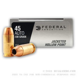 50 Rounds of .45 ACP Ammo by Federal - 230gr JHP