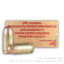 250 Rounds of .45 ACP Ammo by BVAC - 230gr FMJ