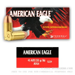 50 Rounds of .45 ACP Small Pistol Primed Ammo by Federal - 230gr FMJ