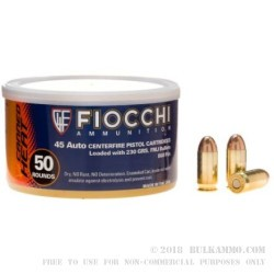 50 Rounds of .45 Canned Heat Ammo by Fiocchi - 230gr FMJ