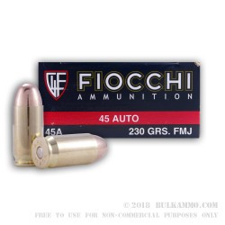 50 Rounds of .45 ACP Small Pistol Primer Ammo by Fiocchi - 230gr FMJ