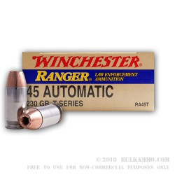 500  Rounds of .45 ACP Ammo by Winchester Ranger T-Series - 230gr JHP