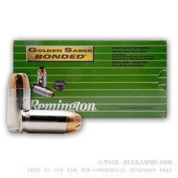 50 Rounds of .45 ACP Ammo by Remington Golden Saber Bonded - 185gr JHP