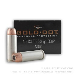 20 Rounds of .45 Long-Colt Ammo by Speer Gold Dot - 250gr Bonded HP