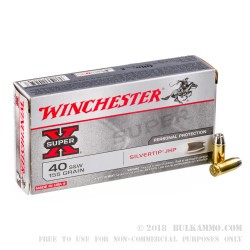 50 Rounds of .40 S&W Ammo by Winchester - 155gr Silvertip JHP