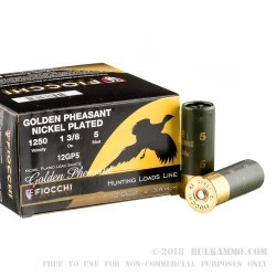 25 Rounds of 12ga Ammo by Fiocchi Golden Pheasant - 1 3/8 ounce #5 nickel plated lead shot