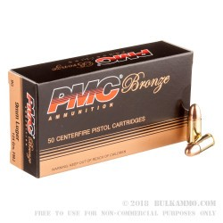 50 Rounds of 9mm Ammo by PMC - 124gr FMJ