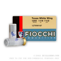 250 Rounds of 12ga Ammo by Fiocchi - 1 1/8 ounce #7 1/2 shot