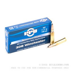 500  Rounds of .308 Win Ammo by Prvi Partizan - 180gr SP