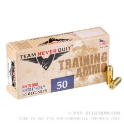 1000 Rounds of 10mm Ammo by Team Never Quit - 180gr FMJ