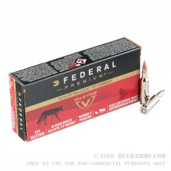 20 Rounds of .224 Valkyrie Ammo by Federal Premium - 60gr Nosler Ballistic Tip
