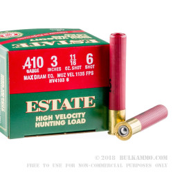 "25 Rounds of .410 3"" Ammo by Estate HV Hunting - 11/16 oz #6 Shot"