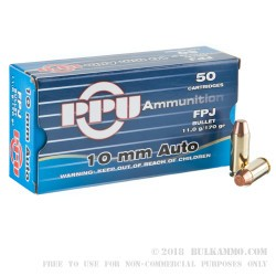 500 Rounds of 10mm Ammo by Prvi Partizan - 170gr FPJ