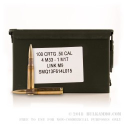 100 Rounds of .50 BMG Ammo by Lake City - 660 gr Tracer