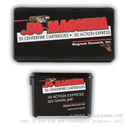 20 Rounds of .50 AE Ammo by Magnum Research - 300 gr JHP