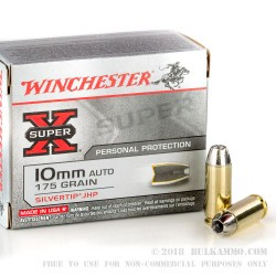 20 Rounds of 10mm Ammo by Winchester - 175gr JHP
