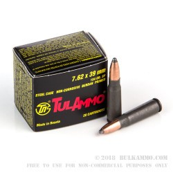 20 Rounds of 7.62x39mm Ammo by Tula - 154gr SP