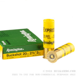 5 Rounds of 20ga Ammo by Remington Express -  #3 Buck