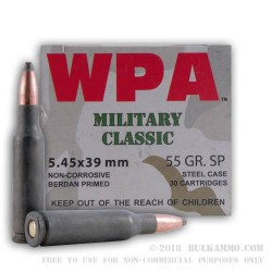 30 Rounds of 5.45x39mm Ammo by Wolf - 55gr SP