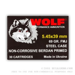 1200 Rounds of 5.45x39mm Ammo by Wolf - 69gr FMJ