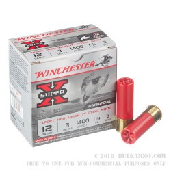 "25 Rounds of 12ga Ammo by Winchester Super-X - 3"" 1 1/4 ounce #3 Shot"