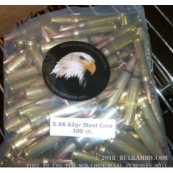 100 Rounds of 5.56x45 Steel Core Ammo by MBI - 62gr FMJBT