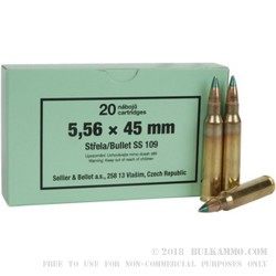 20 Rounds of 5.56x45 Ammo by Sellier & Bellot - 62gr FMJ SS109