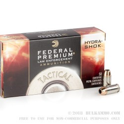 50 Rounds of .45 ACP +P Ammo by Federal Hydra Shok - 185gr JHP