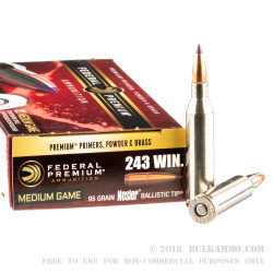 20 Rounds of .243 Win Ammo by Federal Vital-Shok - 95gr Nosler Ballistic Tip