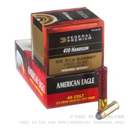 "70 Rounds of .45 Long-Colt/410 Gauge Ammo by Federal American Eagle Combo - 225gr JSP/2 1/2"" 000 Buck"