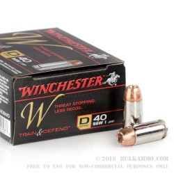 200 Rounds of .40 S&W Ammo by Winchester W Train and Defend - 180gr JHP