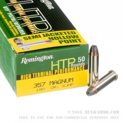 500 Rounds of .357 Mag Ammo by Remington - 180gr SJHP