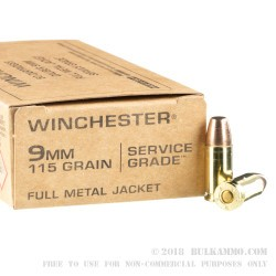 500 rounds of bulk 9mm ammo by winchester service grade 115gr fmj