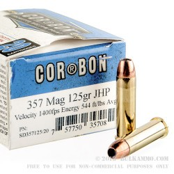 20 Rounds of .357 Mag Ammo by Corbon - 125gr JHP