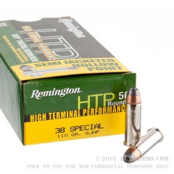 50 Rounds of .38 Spl Ammo by Remington HTP - 110gr SJHP
