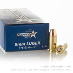 50 Rounds of 9mm Ammo by Independence - 115gr JHP
