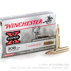 20 Rounds of .308 Win Ammo by Winchester - 150gr PP