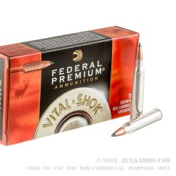 20 Rounds of .300 Win Mag Ammo by Federal Vital-Shok - 180gr Trophy Copper Polymer Tipped