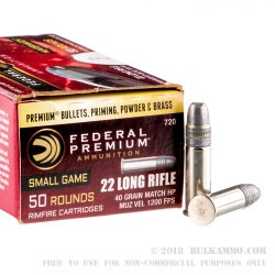 50 Rounds of .22 LR Ammo by Federal Hunter Match - 40gr Lead HP
