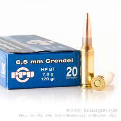 20 Rounds of 6.5mm Grendel  Ammo by Prvi Partizan - 120gr HPBT