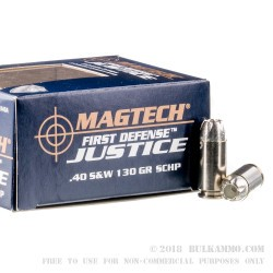 20 Rounds of .40 S&W Ammo by Magtech First Defense Justice - 130gr SCHP