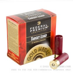 "25 Rounds of 12ga Ammo by Federal Gold Medal Target - 2-3/4"" 1 1/8 ounce #7 1/2 shot"