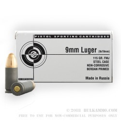 1000 Rounds of 9mm Ammo by Tula - 115gr FMJ