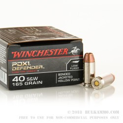 20 Rounds of .40 S&W Ammo by Winchester - 165gr JHP